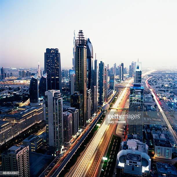Elevated view of Sheikh Zayed Road and cityscape