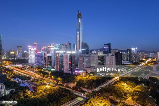 Elevated View of Shenzhen Skyline at Night