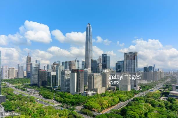 elevated view of shenzhen skyline - 深圳市 ストックフォトと画像
