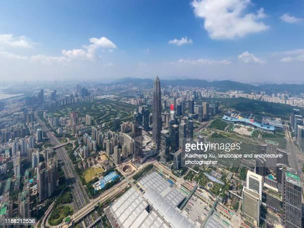 elevated view of shenzhen skyline - província de guangdong - fotografias e filmes do acervo
