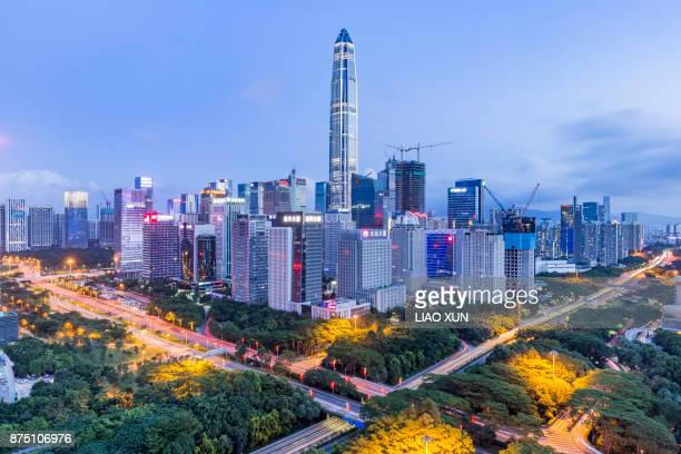 elevated view of shenzhen skyline - shenzhen stock pictures, royalty-free photos & images