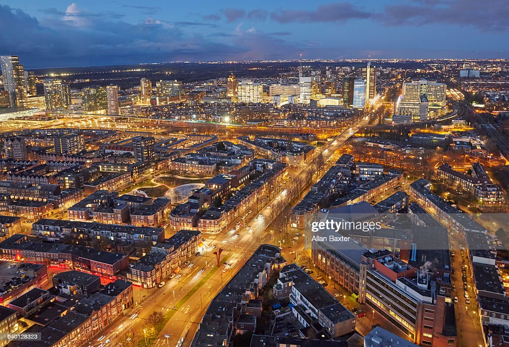 Elevated view of skyline of the Hague at dusk : Stock Photo