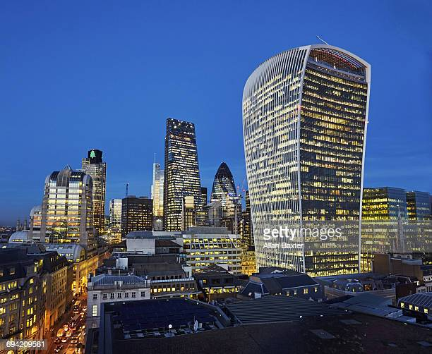 Elevated view of skyscrapers in City of London