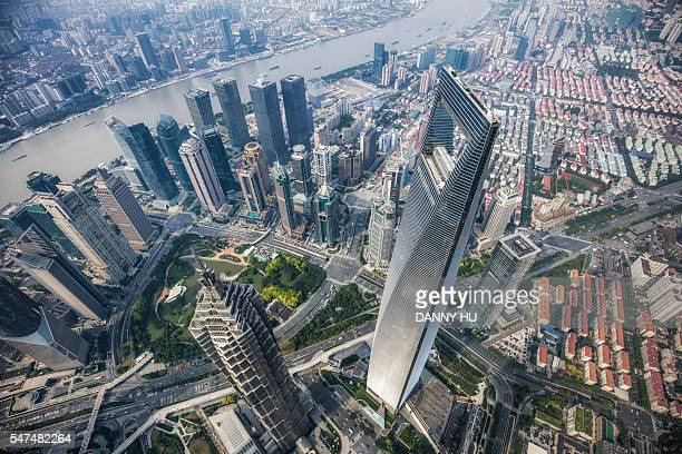 Elevated view of skyscrapers in Lujiazui district,Shanghai,China
