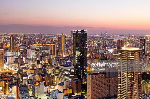 Elevated view of skyscrapers in Osaka and Minato district at dusk