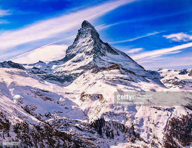 Elevated view of snow covered Matterhorn, Zermatt, Switzerland