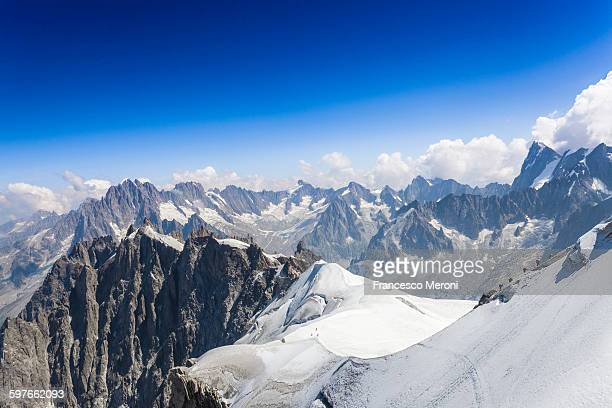Elevated view of snow covered mountains at Mont blanc, France