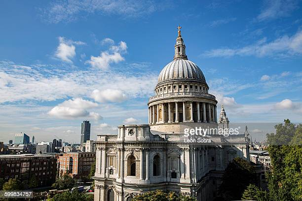 Elevated view of St Pauls Cathedral, London, UK