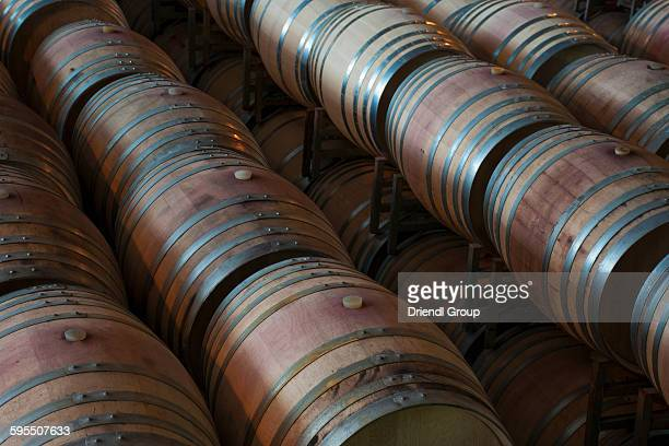stacked oak barrels maturing red wine. Elevated View Of Stacked Wine Casks. Oak Barrels Maturing Red M