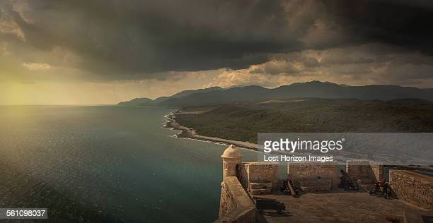 Elevated view of storm clouds from San Pedro de la Roca Castle, Santiago de Cuba, Cuba
