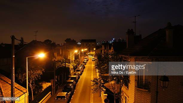 Elevated View Of Street At Night