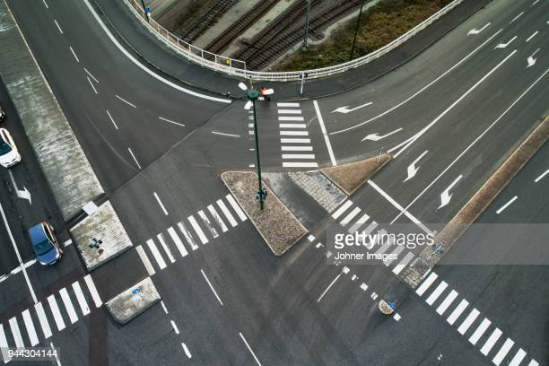 Elevated view of street intersection