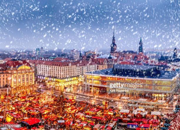 elevated view of striezelmarkt christmas market, dresden, germany - dresden stock-fotos und bilder