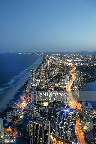 Elevated view of Surfers Paradise with coastline.