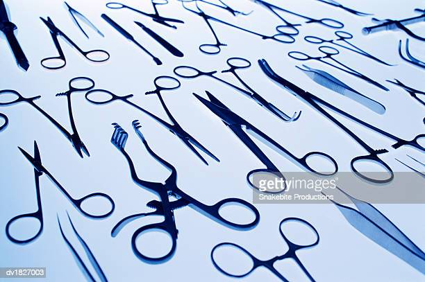 elevated view of surgical objects - surgical equipment stock photos and pictures