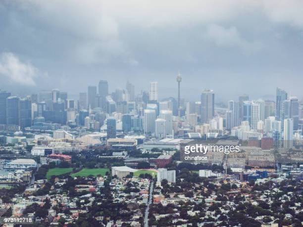 Elevated view of sydney cityscape in clouds,Australia