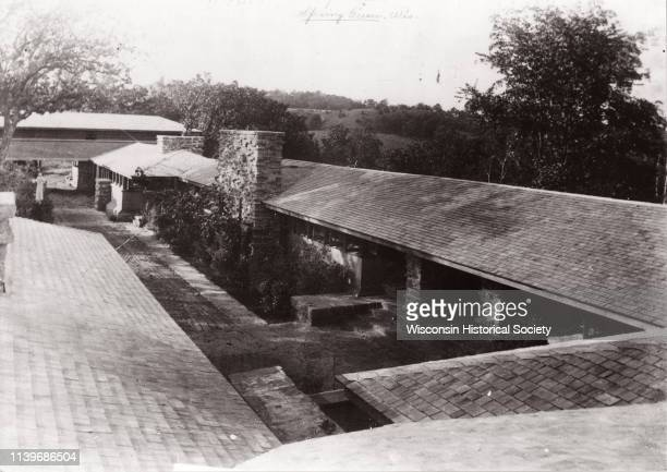 Elevated view of Taliesin, Frank Lloyd Wright's residence and studio as it appeared early 1912 before the hexagonal clerestory windwo was added...