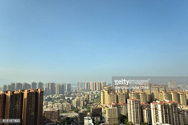 elevated view of tanzhou residential in the morning - zhongshan stock-fotos und bilder