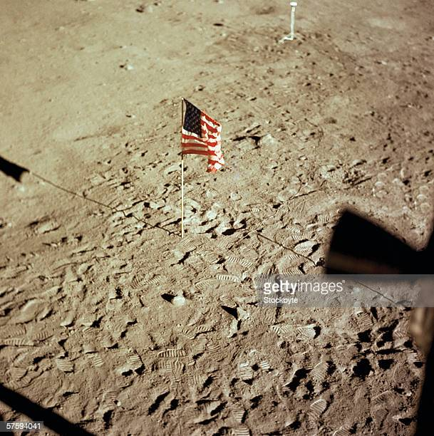 Elevated view of the American flag hoisted on the moon