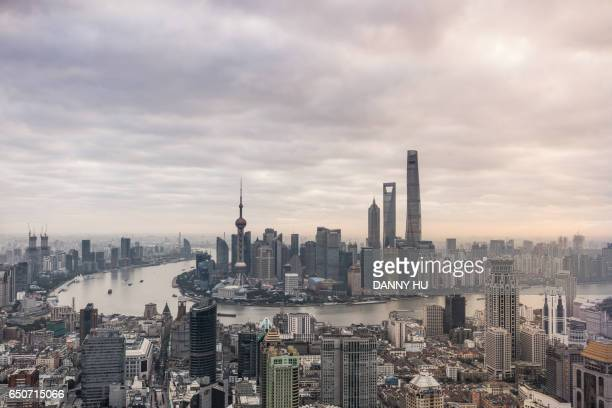 elevated view of the bund and Lujiazui district at dusk