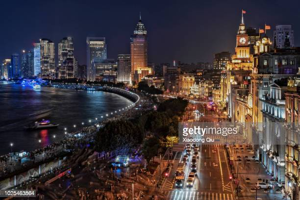Elevated View Of The Bund Shanghai At Night