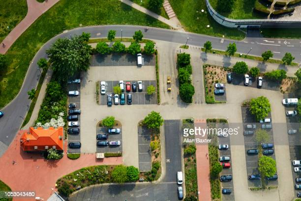 Elevated view of the car park in the Hamm district of Dusseldorf
