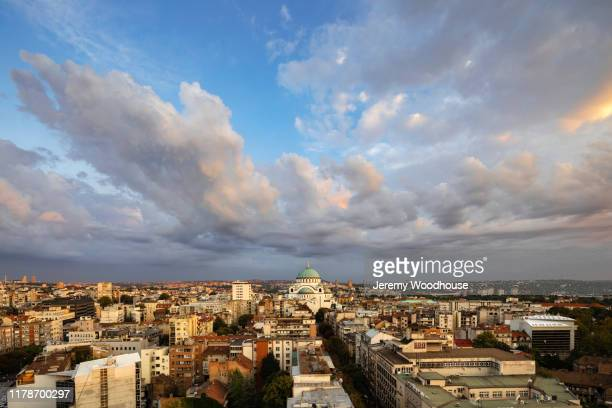 elevated view of the cathedral of saint sava at sunset - jeremy woodhouse stock pictures, royalty-free photos & images