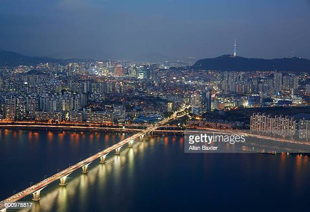 Elevated view of the Centre of Seoul and Han river