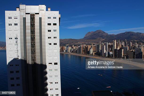 Elevated view of the city of Benidorm and Levante Beach