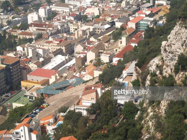 elevated view of the city of gibraltar (uk) - la linea de conception stock pictures, royalty-free photos & images