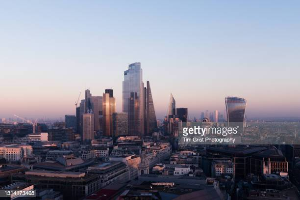 elevated view of the city of london, also known as the square mile. - politics and government stock pictures, royalty-free photos & images