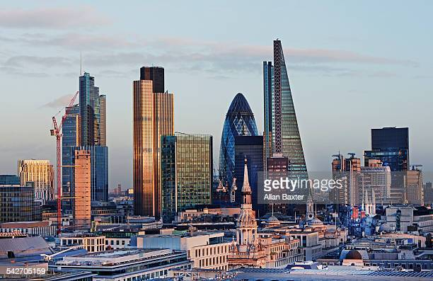 Elevated view of the City of London at dusk