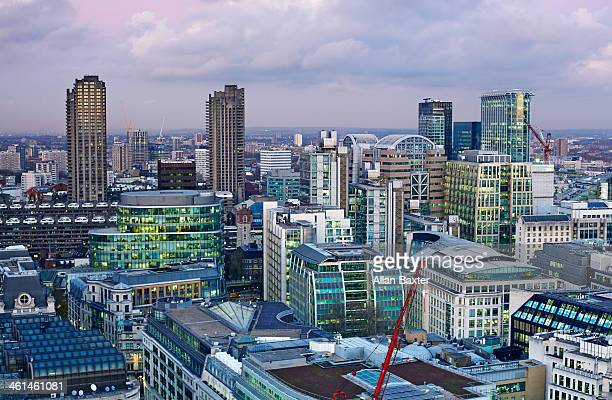elevated view of the city of london - east london stock pictures, royalty-free photos & images