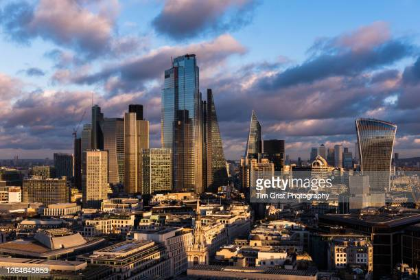 elevated view of the city of london's financial district skyline - overhead view stock pictures, royalty-free photos & images