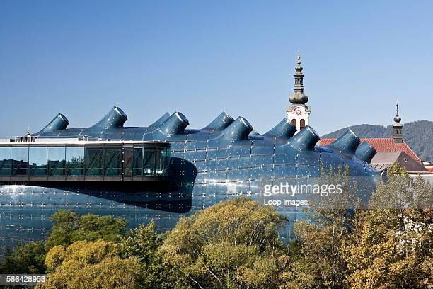 Elevated view of the contemporary art museum Kunsthaus Graz