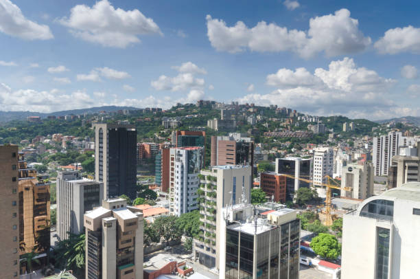 Elevated view of the El Rosal, Caracas. El Rosa is a neighbourhood of Caracas, Venezuela, in the Chacao municipality. It is located at East Caracas, near the geographic center of Caracas and is one of its financial centres.