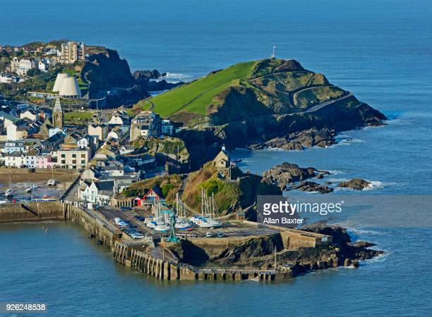 elevated view of the fishing village of ilfracombe in north devon - ilfracombe stock photos and pictures