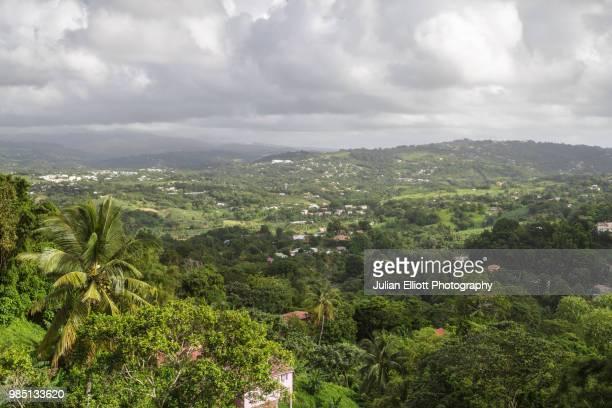 elevated view of the island of martinique. - isla martinica fotografías e imágenes de stock