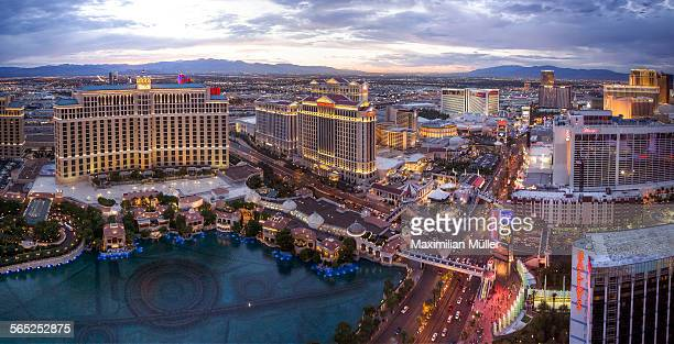 elevated view of the las vegas strip after sunset - las vegas stock pictures, royalty-free photos & images