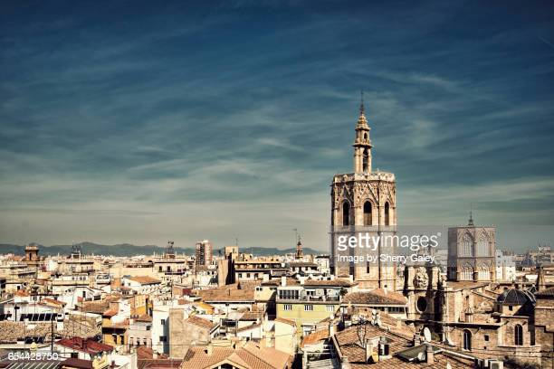 Elevated view of the old city of Valencia, Spain from the Tower of Santa Catalina