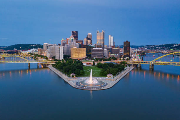 Elevated View of the Pittsburgh Skyline at Dusk
