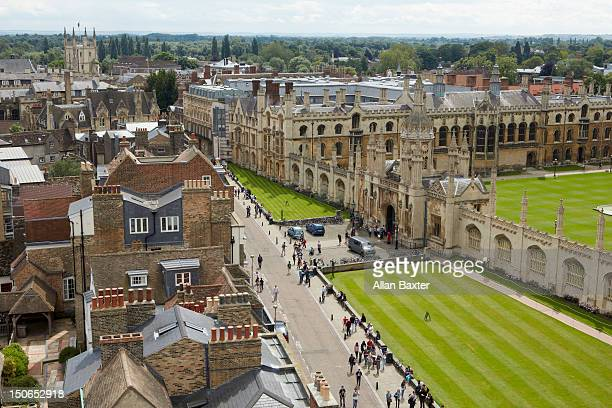elevated view of the skyline of cambridge - cambridge university stock pictures, royalty-free photos & images