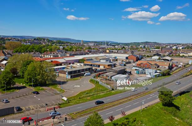elevated view of the skyline of newport in south wales - newport south wales stock pictures, royalty-free photos & images