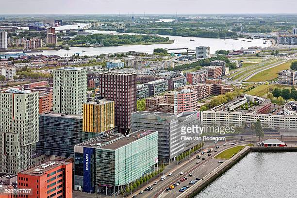 elevated view of the skyline of rotterdam - ロッテルダム ストックフォトと画像