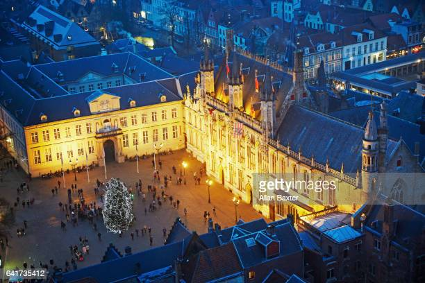 Elevated view of the Stadhuis hall in Bruges