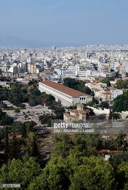 Elevated view of the Stoa of Attalos Athens Greece Greek civilisation 2nd century BC