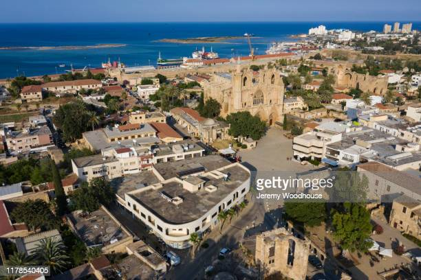 elevated view of the the lala mustafa pasha mosque (cathedral of saint nicholas) - jeremy woodhouse stock pictures, royalty-free photos & images