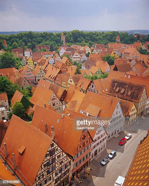 Elevated view of the town, Dinkelsbuhl, the Romantic Road, Bavaria, Germany, Europe