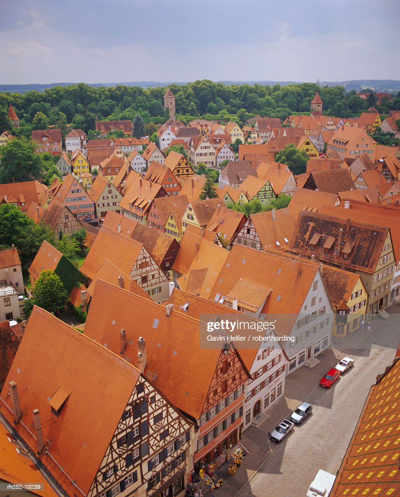 Elevated view of the town, Dinkelsbuhl, the Romantic Road, Bavaria, Germany, Europe : Foto de stock