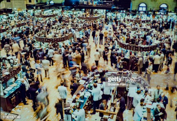 Elevated view of the trading floor of the New York Stock Exchange, New York, New York, 1977.